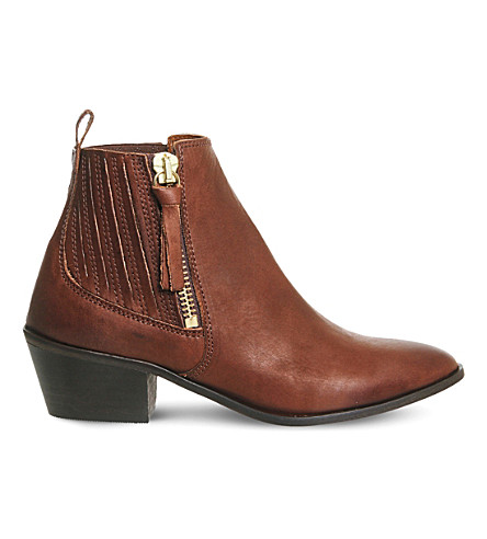 OFFICE Luca leather Western boots (Tan+leather