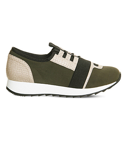 OFFICE Action neoprene trainers (Khaki+beige