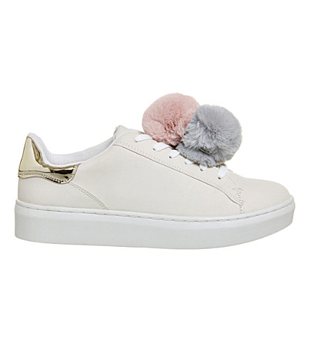OFFICE Fluffy pom pom trainers (White grey nude