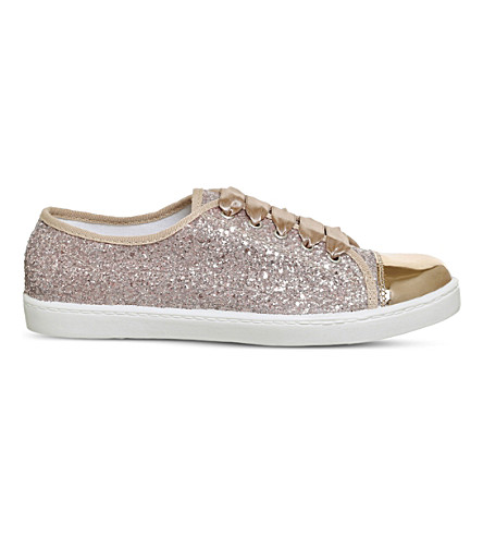 OFFICE Puffin glitter trainers (Rose+gold+glitter