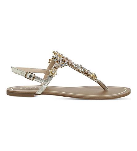 OFFICE Serena embellished snake-embossed sandals