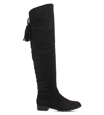 OFFICE Knock Knock faux-suede over-the-knee boots (Black+microsuede