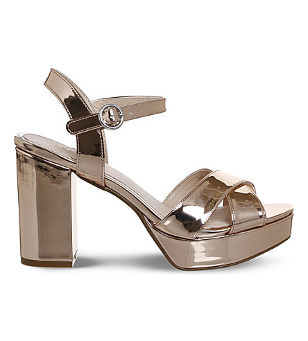 OFFICE Misty platform heels (Rose+gold+mirror