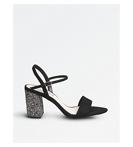 OFFICE Millionaire glitter-heel metallic sandals (Black