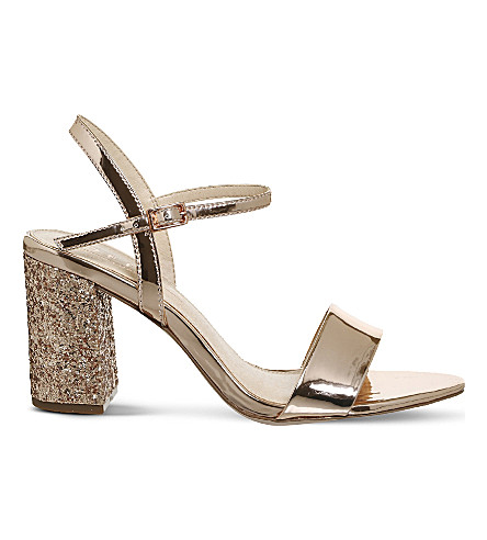 OFFICE Millionaire glitter-heel metallic sandals (Rose+gold+mirror