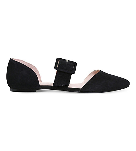 OFFICE Friendship buckled suede flats (Black+suede