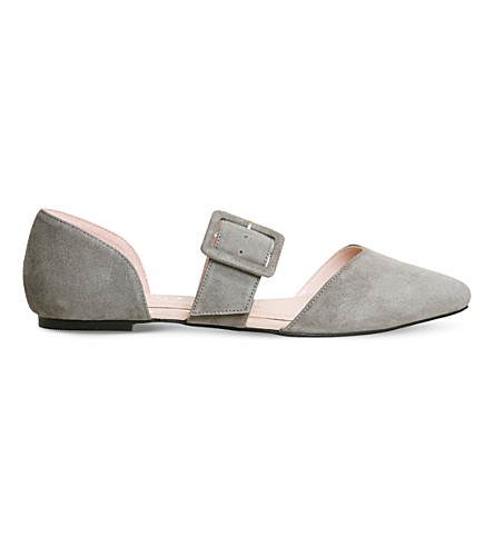 OFFICE Friendship buckled suede flats (Grey+suede