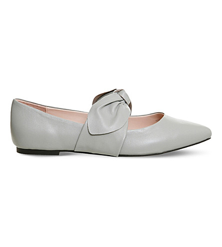 OFFICE Fruity bow leather flats (Grey+leather