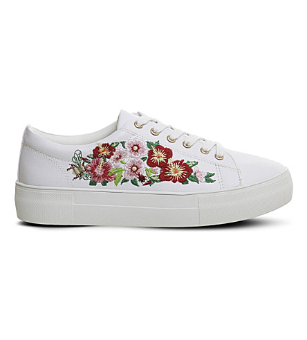 OFFICE Flare floral embroidered faux-leather trainers (White