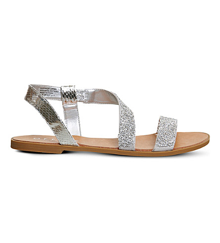 OFFICE Sparkle glitter sandals (Silver+snake