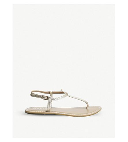 OFFICE Samba toe-post leather sandals (Gold+croc+leather