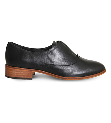 OFFICE Flexi elastic-detail leather Oxford shoes (Black+leather