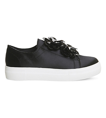 OFFICE Fliss embellished satin trainers (Black+satin