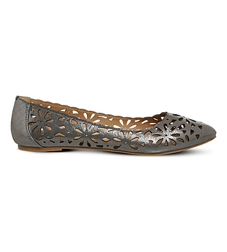 OFFICE Freedom laser cut metallic ballet flats (Silver-metallic