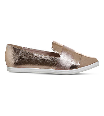 OFFICE Fig Point metallic faux-leather pumps (Rose+gold
