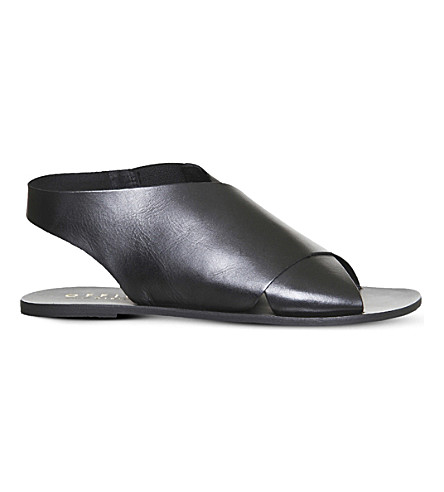 OFFICE Spitalfield cross-strap leather sandals (Black+leather
