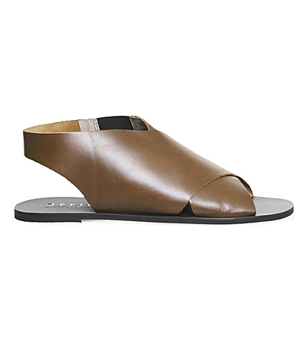 OFFICE Spitalfield cross-strap leather sandals (Tan+leather