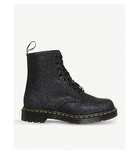 DR. MARTENS Pascal 8-eye glitter boots (Black+glitter