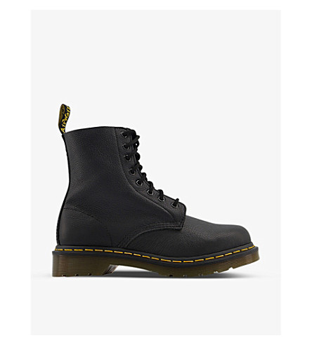 DR. MARTENS 8-eyelet leather boots (Black+virginia