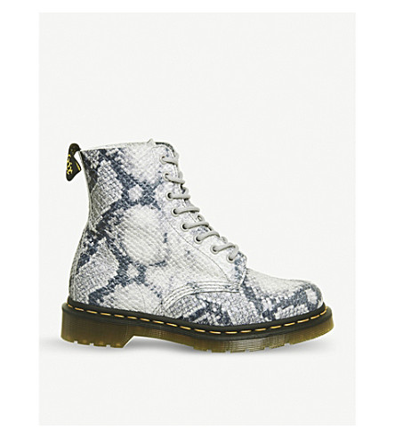 1460 Pascal 8-eye snake-embossed leather boots