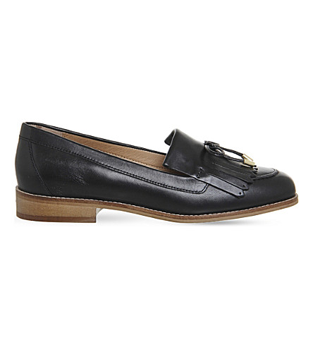 OFFICE Filtered fringe-detail leather loafers (Black+leather