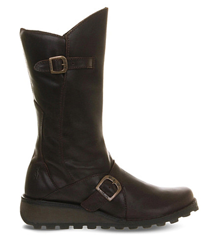 FLY LONDON Mes leather calf boot (Dk+brown+rug+lt