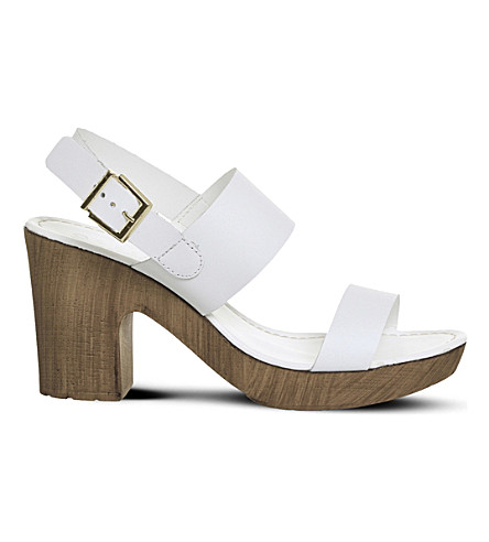 OFFICE Michelle leather and wood-effect sandals (White+leather
