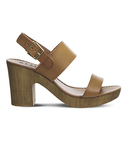 OFFICE Michelle Wood leather sandals (Tan+leather
