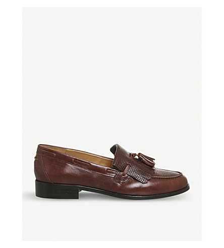 OFFICE Extravaganza reptile-effect leather loafers (Chocolate+leather