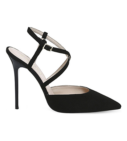 OFFICE Here We Go strappy suede courts (Black+suede
