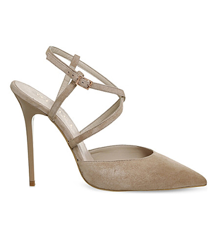 OFFICE Here We Go strappy suede courts (Nude+suede