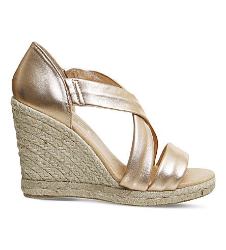 OFFICE Holiday cross-front espadrille wedges (Rose+gold+leather