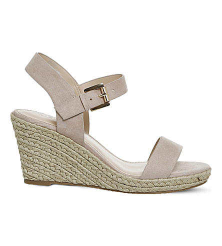 OFFICE Marbs faux-suede espadrille wedges (Nude