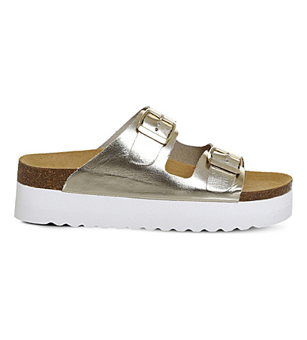OFFICE Might flatform metallic leather sandals (Gold+leather