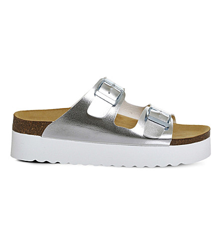 OFFICE Might double buckle flatform footbed (Silver