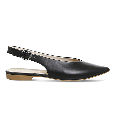 OFFICE Flirty slingback leather flats (Black+leather