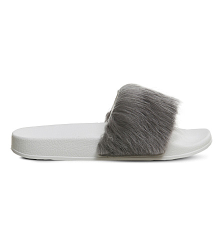 OFFICE Sleepy faux fur pool slide (Grey+faux+fur