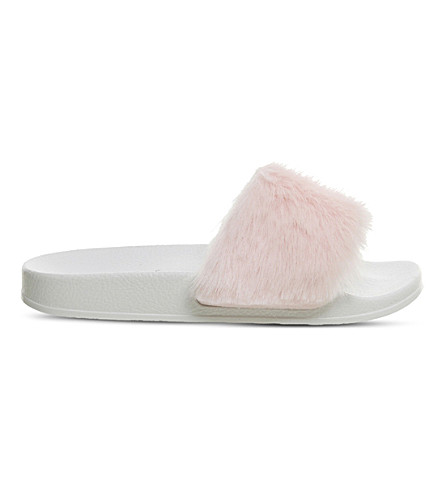 OFFICE Sleepy faux fur sliders (Pink+faux+fur