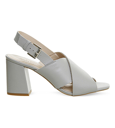 OFFICE Memory cross-strap leather sandals (Grey+leather