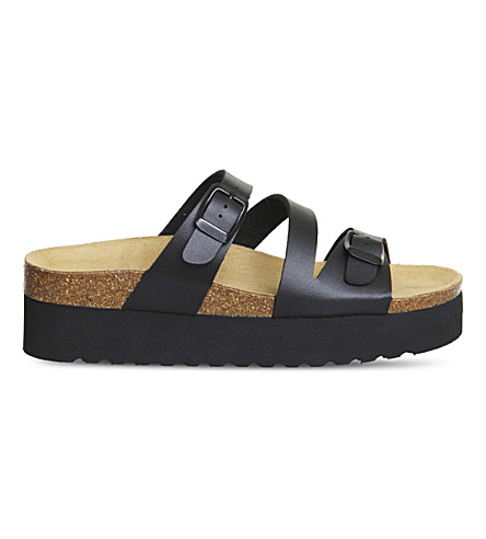 OFFICE Mounty footbed flatform sandals (Black