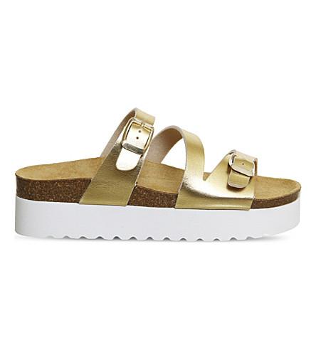 OFFICE Mounty footbed flatform sandals (Gold