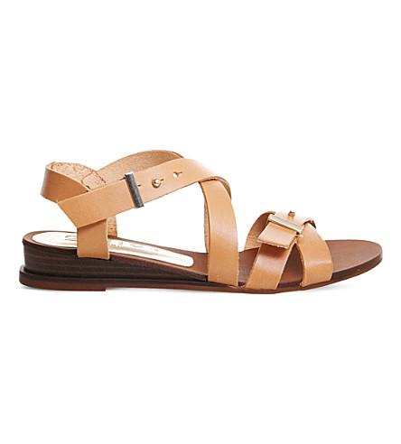 OFFICE 稀树草原皮革楔形凉鞋 (棕褐色 + 皮革