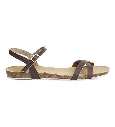 OFFICE Safari cross strap leather sandals (Brown+leather