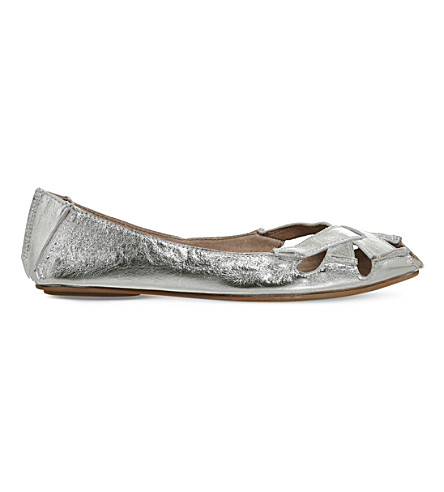 OFFICE Faint leather flats (Silver+leather