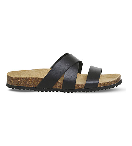 OFFICE Sydney cross strap faux-leather sandals (Black