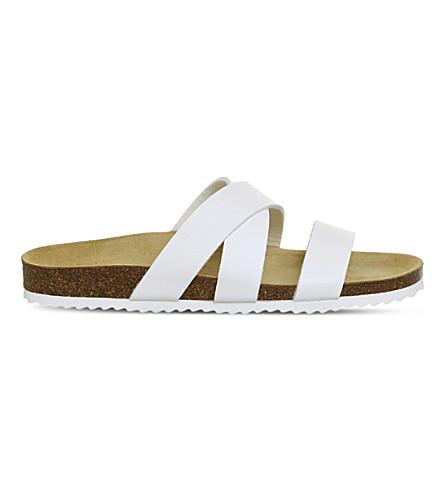 OFFICE 悉尼十字带仿皮凉鞋 (白色