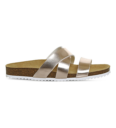 OFFICE Sydney cross strap faux-leather sandal (Rose+gold