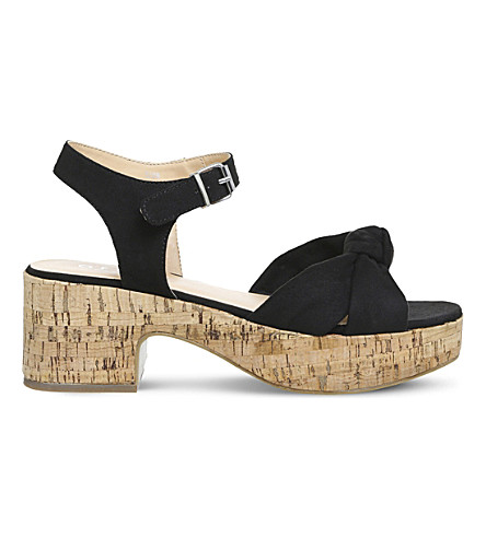 OFFICE Magnolia suede and cork sandals (Black