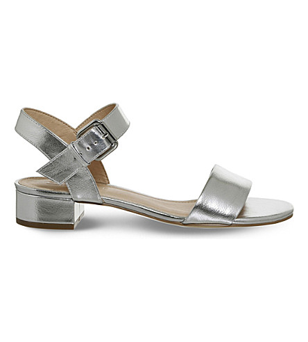 OFFICE Morgan metallic block heel sandals (Silver