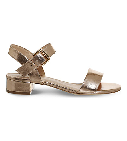 OFFICE Morgan metallic block heel sandals (Rose+gold